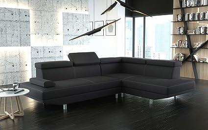 Canapé d'angle STARIO en cuir PU noir avec repose-tête réglable