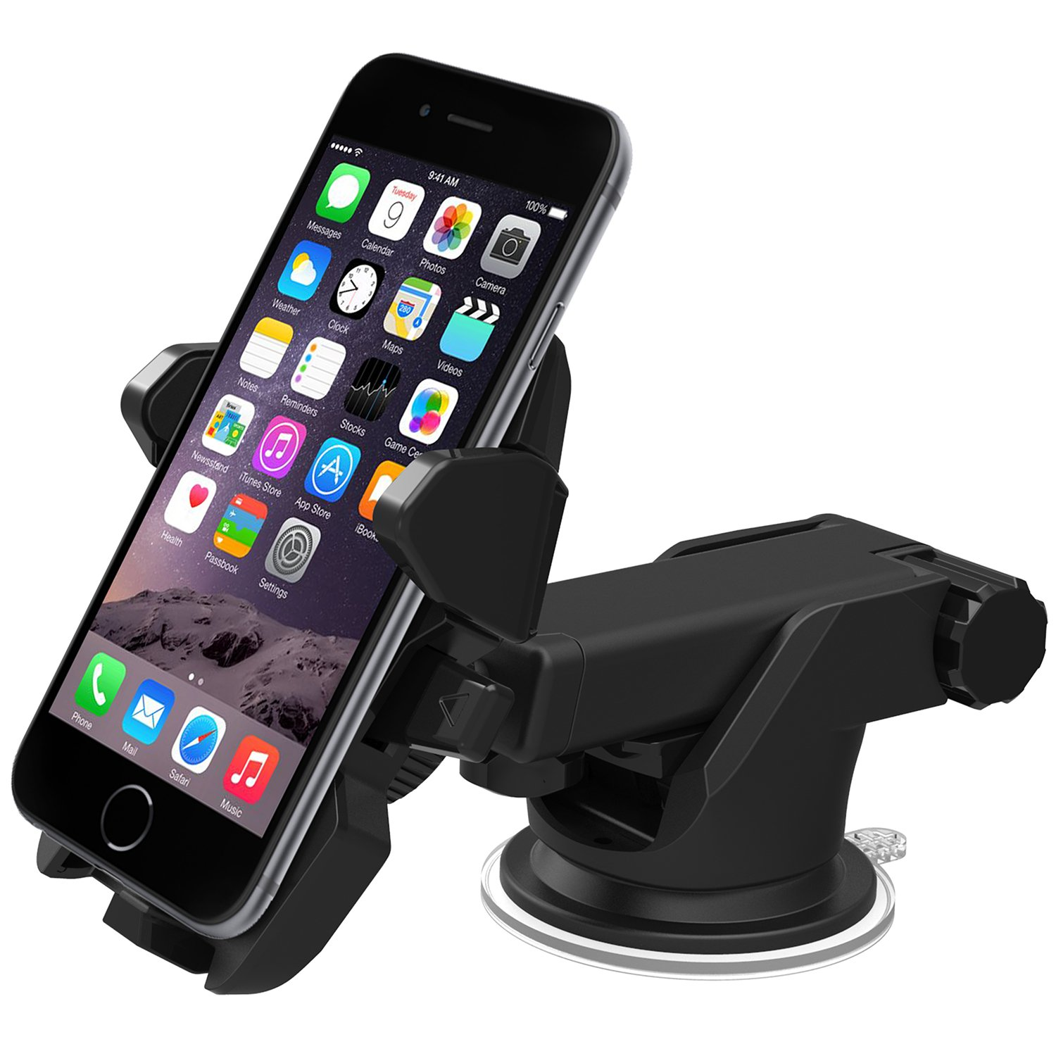 Amazon com iottie easy one touch 2 car mount holder for iphone 6 4 7 plus 5 5 5s 5c samsung galaxy s5 s4 s3 note 4 3 google nexus 5 4