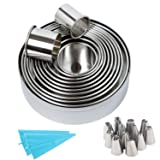 Stainless Steel Cookie Cutters Biscuit Plain Edge Round Cutters Set 12, with Bonus 12 Russian Piping Tips Cake Decorating Supplies Kit (Color: silver, blue)