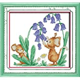 Full Range of Embroidery Starter Kits Stamped Cross Stitch Kits Beginners for DIY Embroidery (Multiple Pattern Designs) - Bluebells and mice (Color: Bluebells and mice)