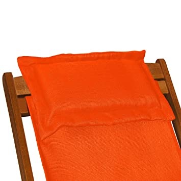 chaise camping plage pliante en en bois tissu assise orange coussin amovible jardin. Black Bedroom Furniture Sets. Home Design Ideas