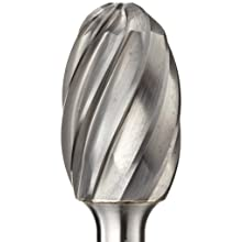"PFERD Oval Carbide Bur, Uncoated (Bright) Finish, Fine Single Cut, Radius End, 1/8"" Shank, 1/8"" Head Diameter, 7/32"" Head Length (SE-41)"