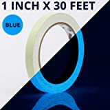 Glow Tape - 1 Inch x 30ft Vinyl Adhesive Blue Glow-in-The-Dark Tape Roll - Lasts Up to 12 Hours (Color: Blue, 1