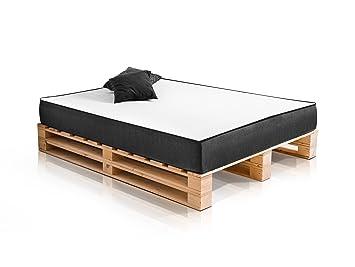 PALETTI DUO Massivholzbett Holzbett Palettenbett Bett aus Paletten in 160 x 200 cm Fichte, 160 x 200 cm, Fichte natur