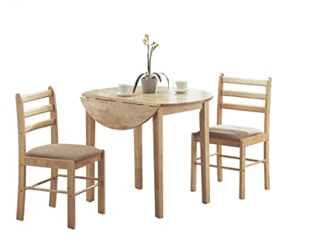 "Natural 3 Piece Dining Set with a 36"" Round Drop Leaf Table"