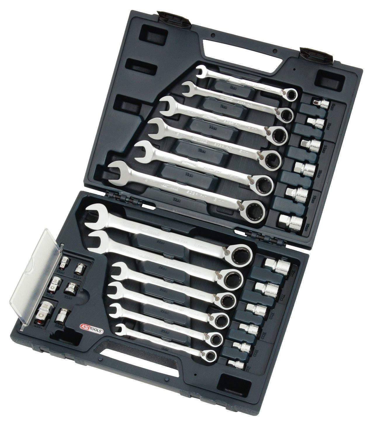 KS Tools 503.4960 Gearplus RingstopRatschenringmaulschlüsselSatz, umschaltbar, 30teilig, 819 mm, mit Adapter  BaumarktKundenbewertung und Beschreibung