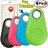 4 Pack Smart GPS Tracker Key Finder Locator Wireless Anti Lost Alarm Sensor Device for Kids Dogs Car Wallet Pets Cats Motorcycles Luggage Remote Camera Smart Phone iOS Android by JingStyle (Color: black, pink, green, blue, Tamaño: 2 inch)