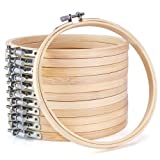 Caydo12 Pieces 6 Inch Wooden Embroidery Hoops Bulk Wholesale Bamboo Circle Cross Stitch Hoop Round Ring for Art Craft Handy Sewing