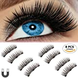 Beatife Natural False Magnetic Eyelashes, 3D Three Magnets Ultra Thin Soft, Glamorous, Natural Look, No Glue, Handmade Reusable Fake Lashes Extension (Black) 2 Pair/8Pcs (Color: Black2, Tamaño: Medium)