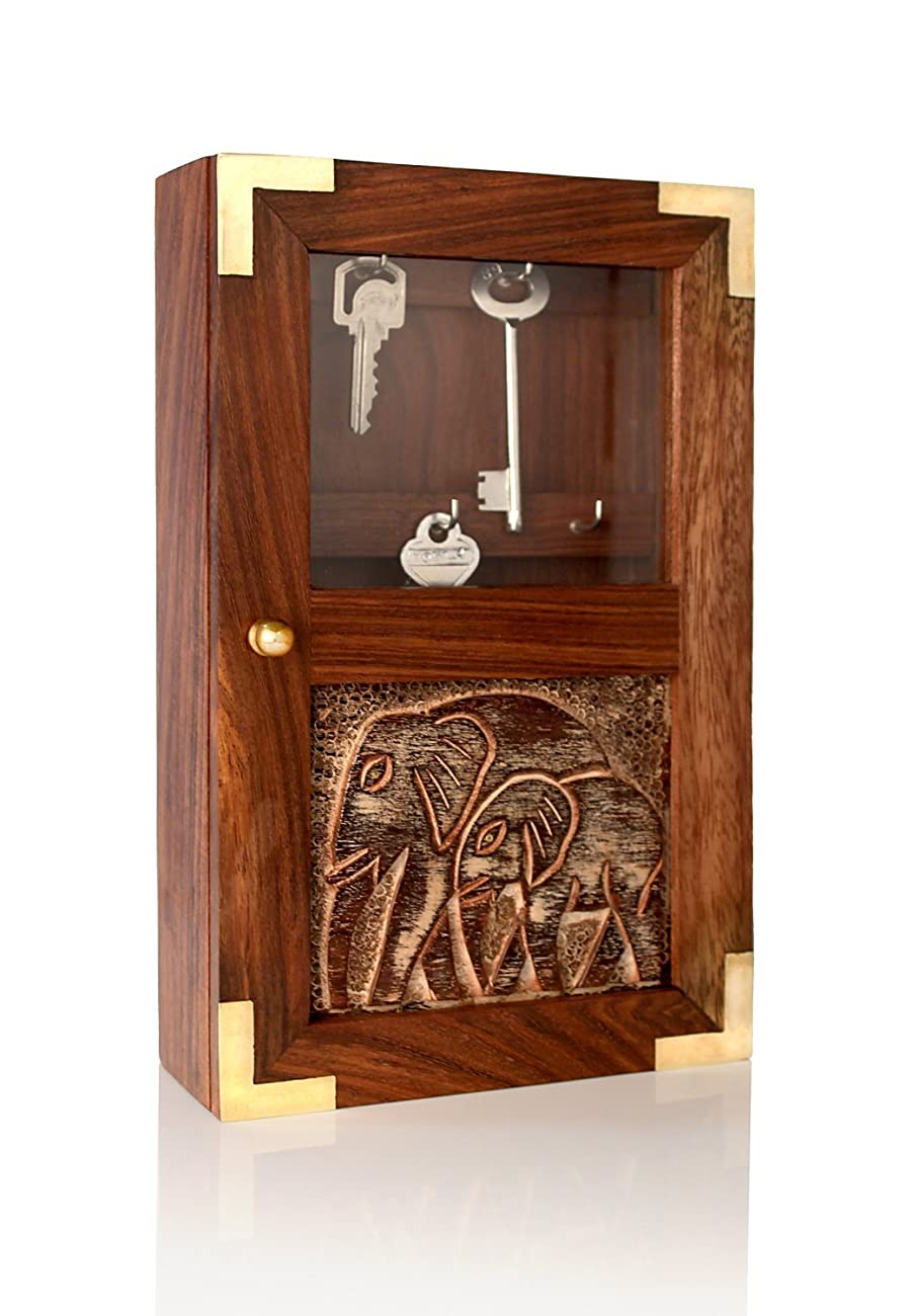 Handmade Decorative Wooden Wall Mounted Key Cabinet with Glass Panel Door & Elephant Carvings 0