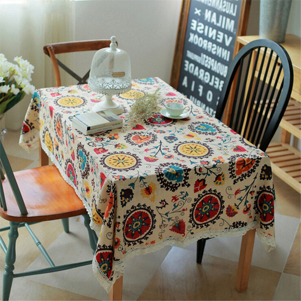 Superwinger Vintage Lace Sun Flower Tablecloth,Linen Embroidered Rectangle Washable Dinner Picnic Table Cloth,Assorted Size. 1