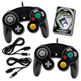 2 Black Game Cube Controllers with 2 Extension Cables and 128mb Memory Card (2-BLK) (Color: 2-BLK)