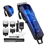Professional Cordless Rechargeable Hair Clippers for men Beard Trimmer BESTMOGE Hair Cutting Kit for Kids with Taper Lever, Rechargeable Li-ion Battery ICR18650 Heavy Duty Motor (Color: car blue)