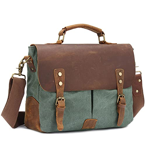 EcoCity Vintage Canvas Leather School College Messenger Bags Briefcase Handbag iPad Bag