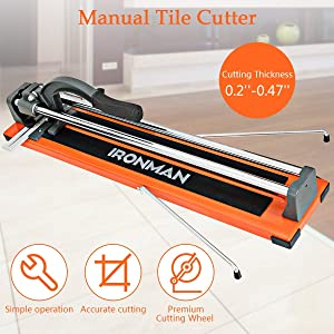 Goplus 24 Inch Manual Tile Cutter, Professional Porcelain Ceramic Floor Tile Cutter with Tungsten Carbide Cutting Wheel and Removable Scale (Tamaño: 24-Inch)