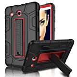 Galaxy Tab E 9.6 Case, Elegant Choise Case with Kickstand Three Layer Heavy Duty Shockproof Defender Rugged Protective Case Cover for Samsung Galaxy Tab E 9.6 inch/SM-T560/T561/T567 (Red/Black) (Color: Red/Black)