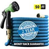 "EnerPlex [2019 Hose Model] X-Stream 50 ft Non-Kink Expandable Garden Hose, 10-Pattern Spray Nozzle Included, 3/4"" Brass Fittings with Shutoff Valve, Best 50' Foot Garden Hose - 2 Year Warranty - Blue"