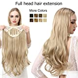 Clip in Hair Extension Brown Curly Curl Wave Full Head Long 24