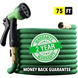 "EnerPlex [2019 Model] X-Stream 75 ft Non-Kink Expandable Garden Hose, 10-Pattern Spray Nozzle Included, 3/4"" Brass Fittings with Shutoff Valve, Best 75' Foot Garden Hose - 2 Year Warranty - Green"