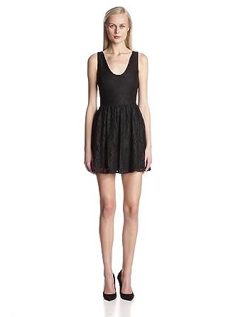 Joie Women's Phelia Lace V-Neck Fit and Flare Sleeveless Dress, Caviar, X-Small