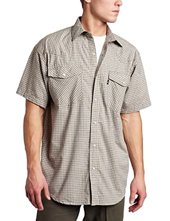 Key apparel men 39 s western snap short sleeve for Wrinkle free dress shirts amazon