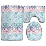 3 Piece Bathroom Mat Set Mermaid Scales Turquoise Non-Slip Bathroom Carpet Rug Sets,Soft Flannel (Color: Multicolor)