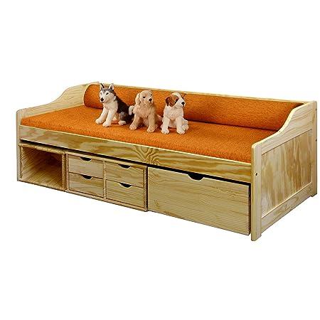 Sofabett Nibia mit Schubladen inkl Rost 90x200cm natur Kiefer lackiert