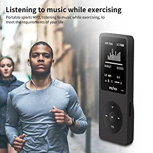 MYMAHDI 8GB MP3 Music Player 1.8 Inch Screen 70h Lossless Sound, Support up to 128GB Micro SD Card Black