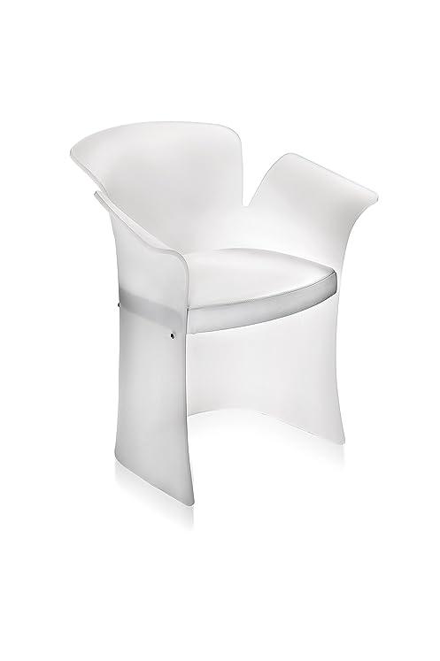 Iplex Design Toulipe Poltrona in Plexiglass Satinato, Bianco/Pelle Bianca
