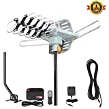 VIEWTEK TV Antenna, Outdoor Amplified HDTV Antenna with Adjustable Antenna Mount Pole 150 Miles Range 360° Rotation Wireless Remote for a better reception with 4K ready