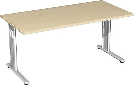 Gera Meubles de 617103S Ah/SI Bureau Lisbonne, 160x 80x 68–82cm, érable/Argent