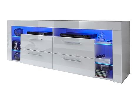 trendteam SC86001 TV Möbel Lowboard, BxHxT 176 x 66 x 44 cm, Weiss Hochglanz
