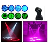 Wonsung 15W Mini LED Stage Light Disco Lamp LED Moving Head Lights spotlight dj set gobo dj light projector for Christmas New year home party (Color: black)