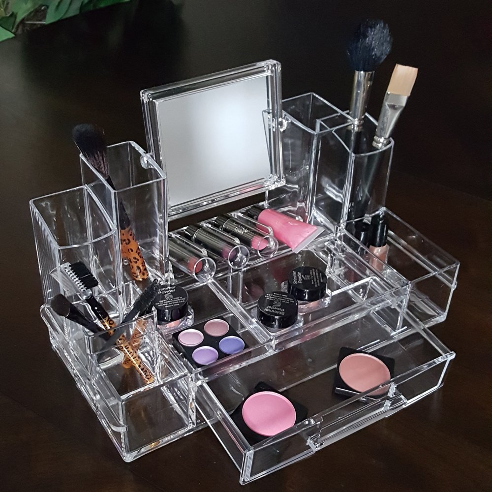 acrylic makeup organizer with mirror