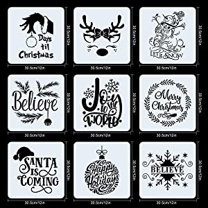 9 PCS Christmas Stencils for Painting on Wood 12 Inches Reusable Floor Tile Stencil for Christmas Decor Fabric Canvas Wall Painting Templates (Color: 9PCS Christmas Stencils 12x12 IN)