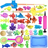 Kvvdi 40pcs Magnetic Fishing Game Toy with 23.6 Inch Pool Fishing Rods Set for Kids Child Play Pretend Fishing Games Bath Toys Model
