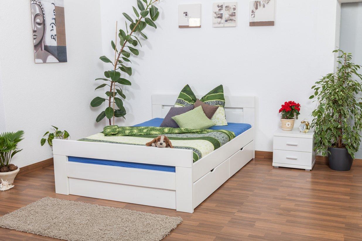 """Jugendbett """"Easy Sleep"""" K6 inkl. 2 Schubladen und 1 Abdeckblende 140 x 200 cm Buche Vollholz massiv weiß lackiert bestellen"""