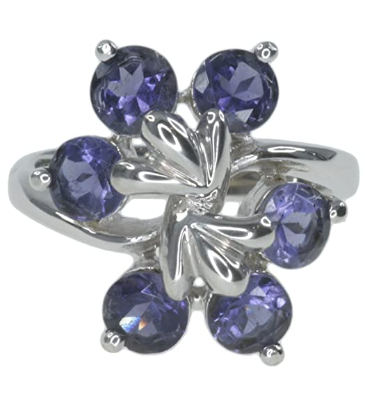 Iolite Round Cluster Gemstone Sterling Silver Ring size N