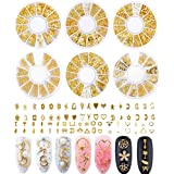 Nail Studs for Women 3D Nail Art Charms Accessories 6 Boxes Gold Metal Punk Star Moon Heart Triangle Square Rivet Gems Nail Art Jewels Decal for Girls Fingernails & Toenails Decorations Tips Manicure (Color: Combination-5, Tamaño: nail)