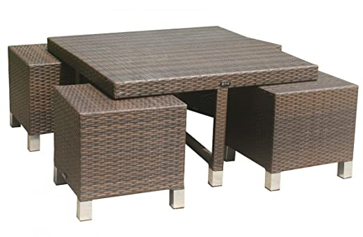 Dreams4Home Tisch Set 'Hanka' - Gartentisch Set, Set mit Hockern, Gartenmöbel, Tisch + Stuhle, Rattanmöbel, Garten, Sofa, B/H/T: 100 x 57 x 100 cm, 4 x unterschiebbare Hocker, Aluminium Unterbau , Rattan Geflecht - in mokka