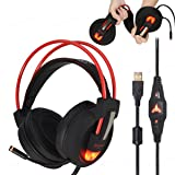 Gaming Headset 7.1 surround sound Stereo USB Wired Over Ear Headphones with Microphone , Noise Canceling LED Light for PS4 Xbox One Games PC MAC (Color: Black)
