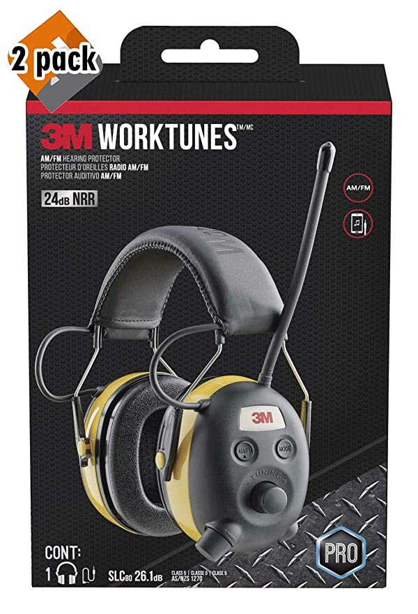3M WorkTunes Connect Hearing Protector, Wired - 90541-80025T 2 Pack (Tamaño: 2 Pack)