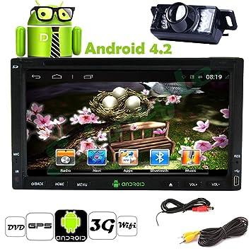Pupug 6.2 pouces 2 Din pour tableau de bord de voiture pour lecteur DVD, Navigation GPS système Android 4.2 WIFI USB Sd Bluetooth pour Pc radionavigation Caméra de recul avec Miroir pour appareil photo