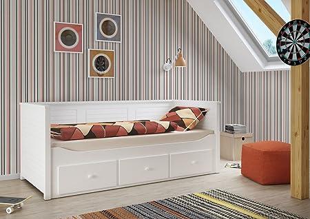 Children's bed Nouri 1, white lacquered - size 90 x 200 cm