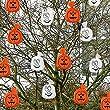 20 citrouilles et fant�mes de d�coration Oranges et Blanches � accrocher.
