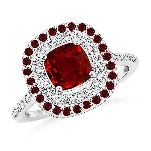Round Ruby and Round Diamond Halo Engagement Ring