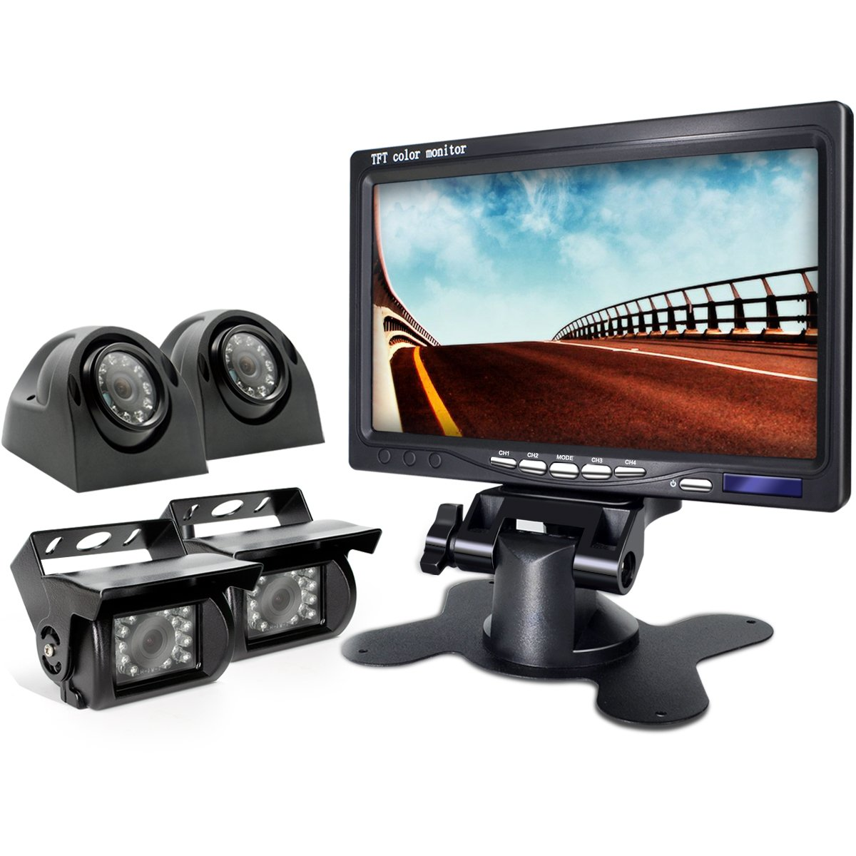 Backup Camera Wired 7 Inch Split Quad Monitor and Camera Kit For Truck/Semi-Trailer/Box Truck/RVTrailer/Bus/Tractor When Reversing Parking Backing to Avoid Blind Area.