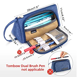 Big Capacity Pencil Pen Case Student Office College Middle School High School Large Storage Blue Purple--EASTHILL (Color: Blue)