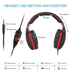 Gaming Headset for Xbox one Laptop PC Mac PS4 Controller Bass Surround Sound Stereo Over Ear Gaming Headphones with Flexible Microphone Volume Control Noise Canceling Mic Wired PC Headset (Color: Red, Tamaño: AH28)