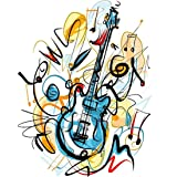 CaptainCrafts New DIY Oil Painting Paint by Numbers Kit 16x20  for Adult Beginner Kids, Linen Canvas New Year Home House Decor - Musical Instrument Guitar (with Frame) (Color: With Frame)
